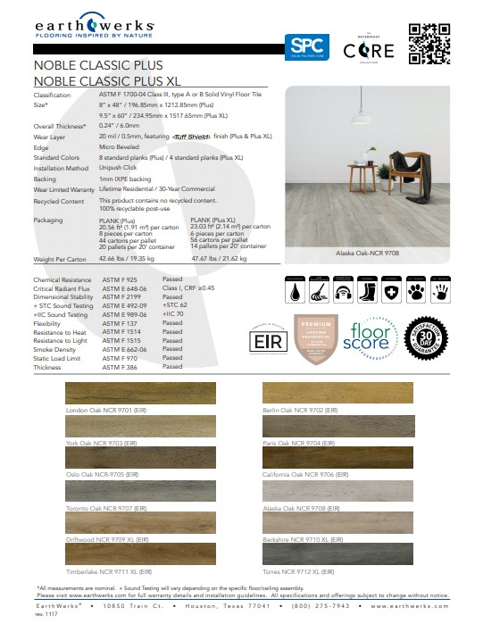 Earthwerks® Noble Classic Vinyl Plank Flooring Spec Sheet