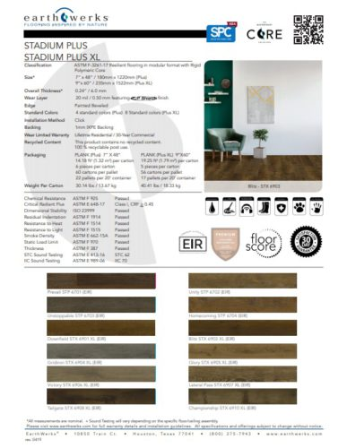 Earthwerks® Stadium Luxury Vinyl Plank Flooring